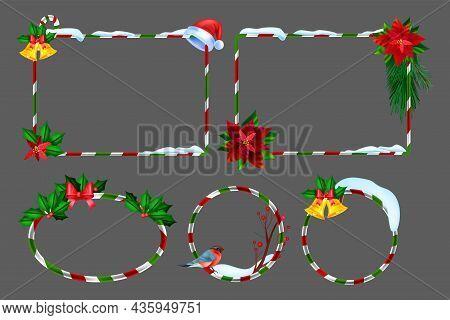 Christmas Winter Frame Set, Vector Holiday X-mas Border Kit, New Year Festive Photo Design Element.