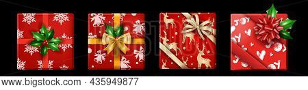 Christmas Holiday Gift Box Set, Vector X-mas Realistic Present Package Top View, Winter New Year Sur