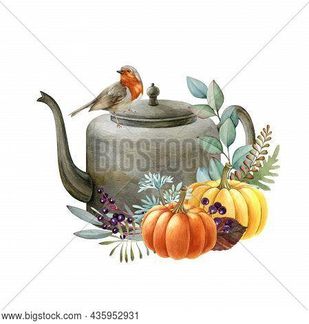 Thanksgiving Rustic Autumn Pumpkin Decor. Watercolor Illustration. Hand Drawn Rustic Thanksgiving Fe