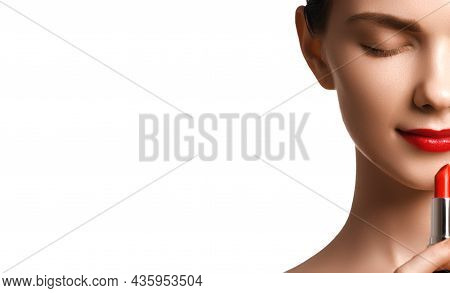 Close-up Shot Of Woman Lips With Glossy Red Lipstick. Glamour Red Lips Make-up, Purity Skin. Retro B