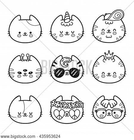 Cute Cats Faces Coloring Page Set Collection. Vector Flat Cartoon Kawaii Character Illustration Icon
