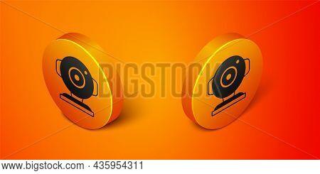 Isometric Web Camera Icon Isolated On Orange Background. Chat Camera. Webcam Icon. Orange Circle But