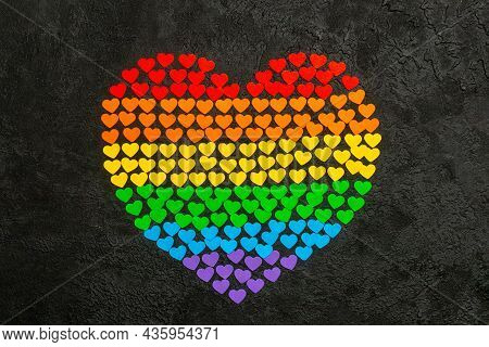 Love Is Love. Heart Made Of Small Hearts In The Color Of The Rainbow Flag Of The Lgbt Community