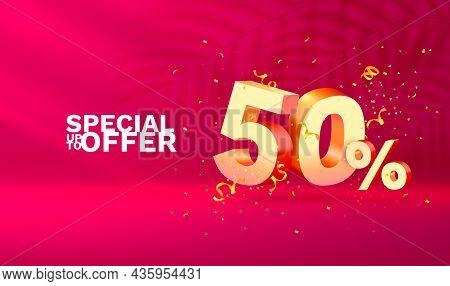 50 Off. Discount Creative Composition. 3d Sale Symbol With Decorative Objects, Golden Confetti, Podi