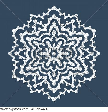 Monochrome Mandala Isolated On Background.  Drawing With Dots. Hand-drawn Illustration. Vector.