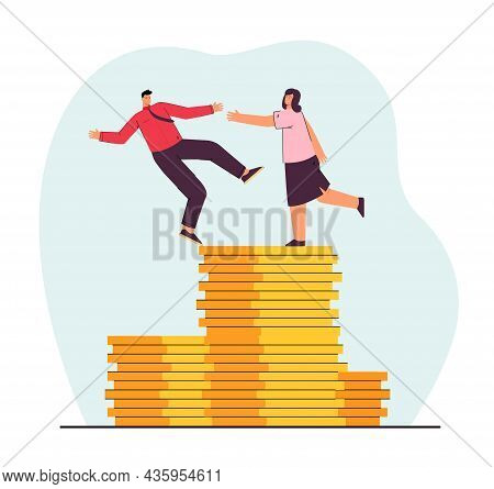 Woman Giving Helping Hand To Employee. Experienced Worker Helping Another One Not To Fail Flat Vecto