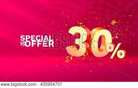 30 Off. Discount Creative Composition. 3d Sale Symbol With Decorative Objects, Golden Confetti, Podi