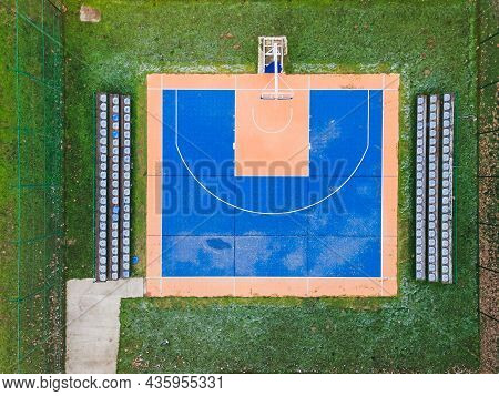 Colorful Basketball  Field From Above. Outdoor Sports Ground With Blue And Orange Surface For Playin