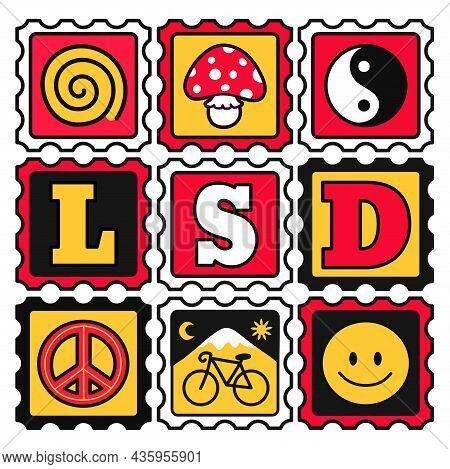 Acid Lsd Paper Blotter Marks. Vector Hand Drawn Doodle Style Cartoon Illustration. Trippy Acid, Lsd