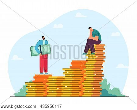 Businessman Sitting On Stack Of Gold Coins And Man With Cash. Male Character Investing In Business F