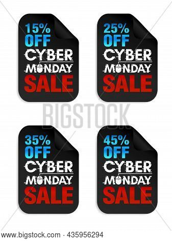 Set Of Cyber Monday Sale Stickers. Cyber Monday Sale 15%, 25%, 35%, 45% Off. Vector Illustration