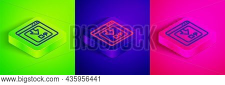 Isometric Line Online App Delivery Tracking Icon Isolated On Green, Blue And Pink Background. Parcel