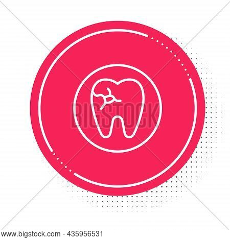 White Line Tooth With Caries Icon Isolated On White Background. Tooth Decay. Red Circle Button. Vect