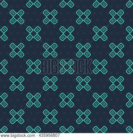 Green Line Crossed Bandage Plaster Icon Isolated Seamless Pattern On Blue Background. Medical Plaste