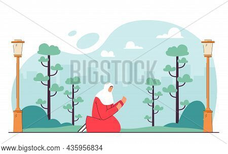 Cartoon Muslim Woman Praying In City Park. Islamic Female Character On Knees Outside Flat Vector Ill