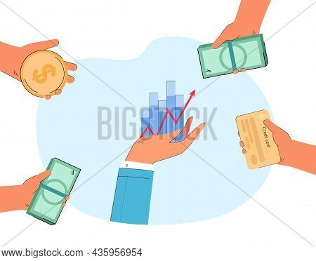 Hand Of Businessman Holding Increasing Graph. Hands With Coin, Cash And Credit Card Investing In Bus