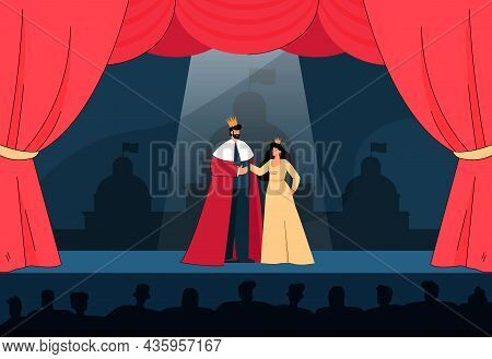 Actors Playing King And Queen In Front Of Watching Audience. People Performing On Theater Stage Flat