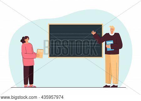 Teacher Explaining New Topic Flat Vector Illustration. Girl Standing Near Blackboard, Listening To M