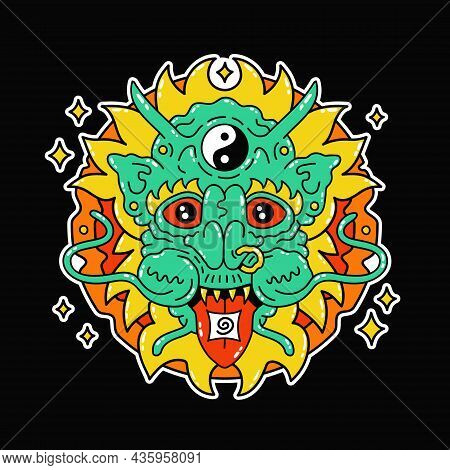 Funny Psychedelic Magic Dragon With Acid Lsd Mark On Tongue. Weed Marijuana Leaf Vector Doodle Line