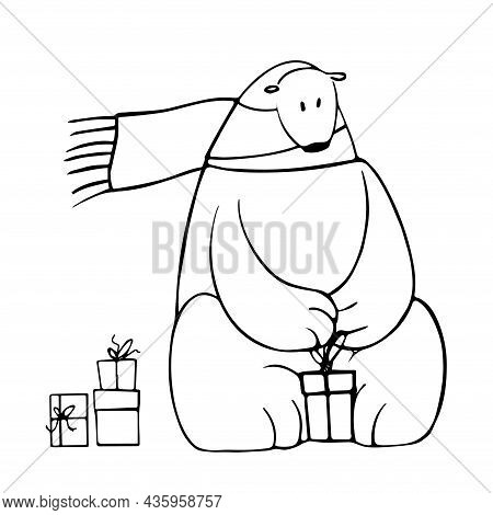 Cute Polar Bear Opening Presents, Vector Clipart, Funny Animal Illustration Good For Card And Print