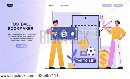 Betting On Football. Man Carries Money To Bookmakers. Landing Page, Concept Of Gambling. Guess Exact