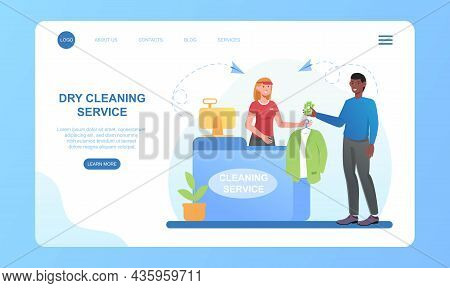 Dry Cleaning Service. Man Gives His Jacket To Dry Cleaner, Woman Seller Takes. Landing Page, Image F