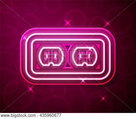 Glowing Neon Line Electrical Outlet Icon Isolated On Red Background. Power Socket. Rosette Symbol. V