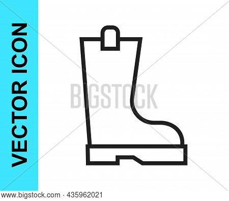 Black Line Waterproof Rubber Boot Icon Isolated On White Background. Gumboots For Rainy Weather, Fis