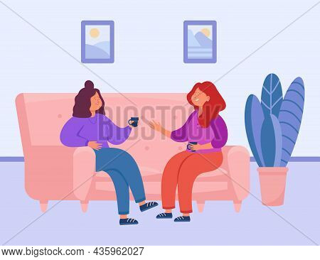 Two Female Characters Drinking Tea Or Coffee At Home. Happy Women Holding Conversation And Having Fu