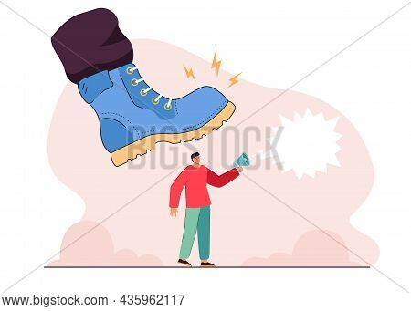 Business Person Under Big Military Shoe Of Soldier. Tiny Man With Megaphone Trampled By Giant Army B
