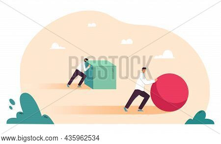 Push Competition Of Two Business People. Efficient Businessman Pushing Ball, Smarter Winner Working