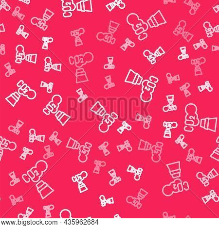 White Line Co2 Emissions In Cloud Icon Isolated Seamless Pattern On Red Background. Carbon Dioxide F