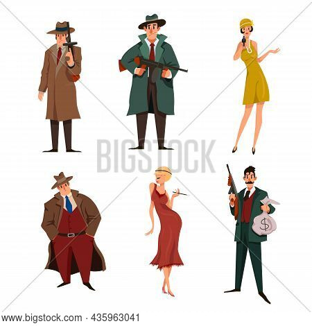 Mafia Male And Female Cartoon Characters Set. Gansters In Hats, Killers, Bodyguards With Guns Vector