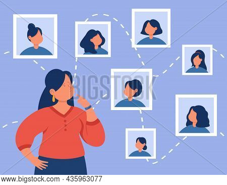 Pensive Woman Making Decision To Change Hair Style At Internet Online Cyber Space. Stylist Choosing