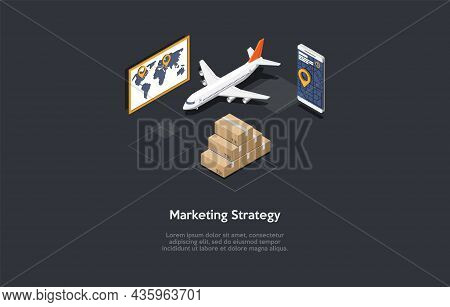 Vector Illustration. Cartoon 3d Style. Isometric Composition. Conceptual Design. Marketing Strategy,