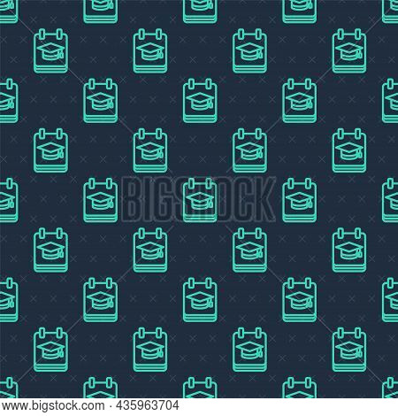 Green Line Online Education And Graduation Icon Isolated Seamless Pattern On Blue Background. Online