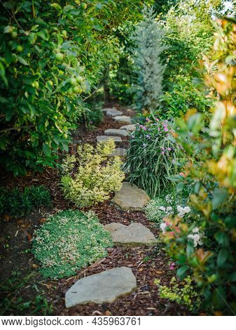 Landscape Design With Flower Beds And Path In Home Garden. Beautiful View Of Nice Landscaped Garden