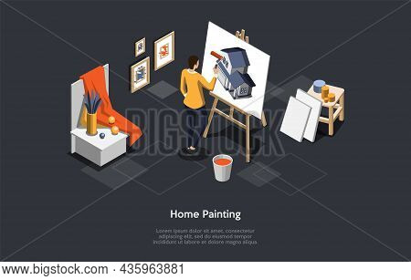 Home Painting Concept Vector Illustration On Dark Background With Text. Isometric Composition In Car