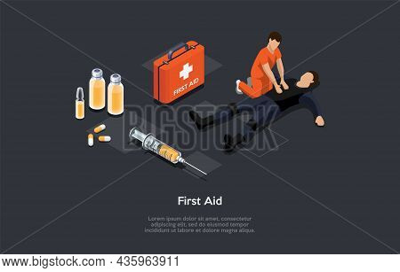 Vector Illustration, Cartoon 3d Style. Isometric Composition, First Aid Conceptual Design With Writi