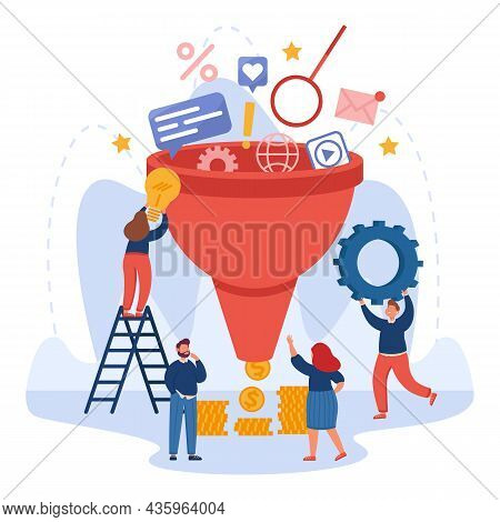 Analysts Analyzing Market, Sales, Social Media, Lead Generation. Cartoon Marketing Funnel Flat Vecto