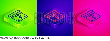 Isometric Line Mystery Box Or Random Loot Box For Games Icon Isolated On Green, Blue And Pink Backgr