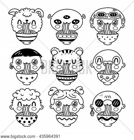 Cute Funny People Eat Noodles From Bowl Set Collection. Vector Hand Drawn Cartoon Kawaii Character I