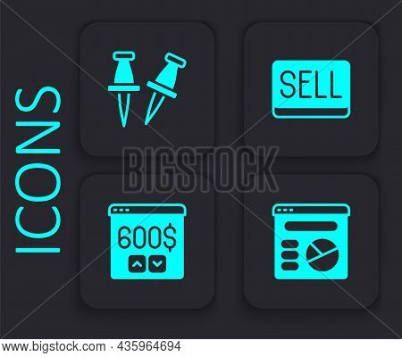 Set Pie Chart Infographic, Push Pin, Sell Button And Monitor With Dollar Icon. Black Square Button.