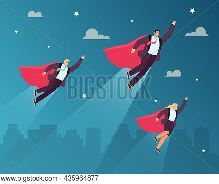 Team Of Business Superheroes Flying Into Sky. Powerful Of Female And Male Super Heroes With Red Cape