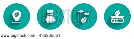 Set Location With Coffee Bean, Pour Over Maker, Coffee Beans And Electronic Scales Icon With Long Sh