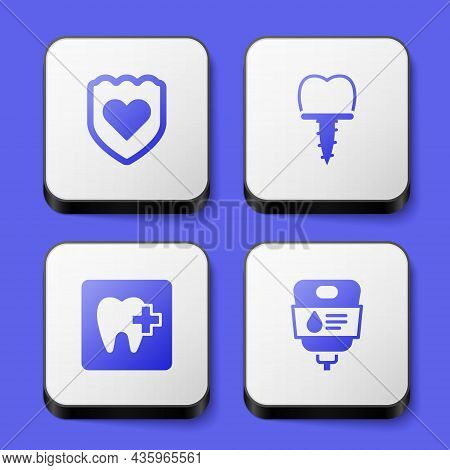 Set Immune System, Dental Implant, Clinic Location And Iv Bag Icon. White Square Button. Vector