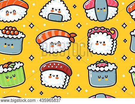 Cute Funny Asian Japanese Sushi Character Seamless Pattern. Vector Hand Drawn Cartoon Kawaii Charact
