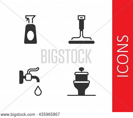 Set Toilet Bowl, Cleaning Spray With Detergent, Water Tap And Rubber Cleaner For Windows Icon. Vecto