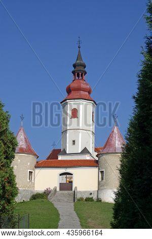 VINAGORA, CROATIA - OCTOBER 18, 2013: Parish Church of the Visitation of the Virgin Mary in Vinagora, Croatia