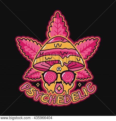 Funny Psychedelic Magic Mushroom With Acid Mark On Tongue. Weed Marijuana Leaf Vector Doodle Line Ca
